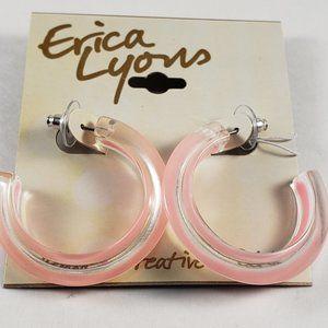 Women's Pink and Clear half hoop Earrings